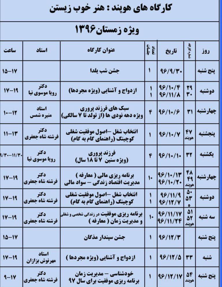 جدول برنامه فصل ها دکتر فرشته شاه جعفری