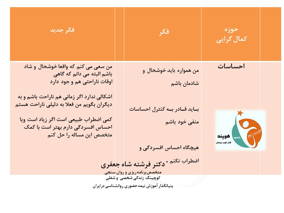 شناخت دقیق حوزههای کمال گرایی شما3 دکتر فرشته شاه جعفری